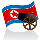 North Korean flag and cannon, potential danger of war