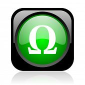 omega black and green square web glossy icon