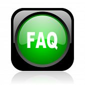 faq black and green square web glossy icon