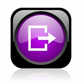 exit black and violet square web glossy icon