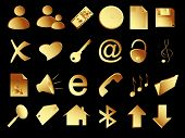 Gold Icons Set On The Black