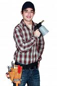 Man holding blowtorch