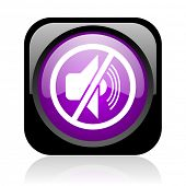 mute black and violet square web glossy icon