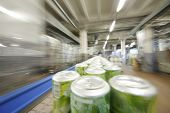 Many green cans with drinks go on conveyor in large modern brewery.