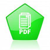 icono de PDF Pentágono verde web brillante