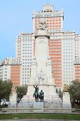 Monument to Cervantes, Don Quixote and Sancho Panza at day in Madrid, Spain.