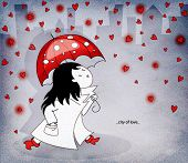 City of Love - Girl in a trench coat, with an umbrella, under a rain of glowing hearts, hand drawn c