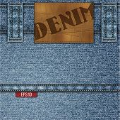 Denim illustration with  leather label and stitches - eps10