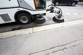 Detail of a street sweeper machine/car cleaning the road
