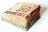 Photo of Brazilian money pile