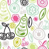stock photo of interior sketch  - Seamless garden fruit retro illustration background pattern in vector - JPG