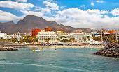 Vista panorámica sobre los Cristianos en la isla de Tenerife, Islas Canarias. España.