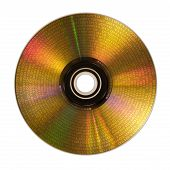 Golden Compact Disc Isolated On White