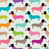 Seamless kids retro dachshund puppy illustration background dog pattern in vector
