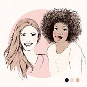 Pretty girls BFF fashion model portrait friends `in soft pastels in vector