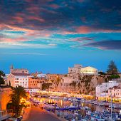 Ciutadella Menorca marina Port sunset town hall and cathedral in Balearic islands