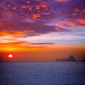 Ibiza sunset view from formentera Island in Balearic Islands