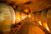 Antique winery in Spain with clay vessels terracotta amphora  pots Mediterranean tradition with cand