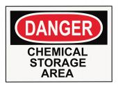 picture of warning-signs  - OSHA danger chemical storage area warning sign isolated on white - JPG