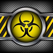 picture of bio-hazard  - Bio hazard circle icon on metal plate for your design - JPG