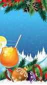 stock photo of winterberry  - Orange cocktail with lemon and ice cubes and Christmas decorations on a winter background - JPG