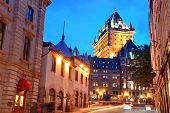 stock photo of chateau  - Chateau Frontenac at dusk in Quebec City with street - JPG