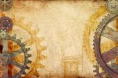 stock photo of steampunk  - Steampunk genre background with rusted and brass gears and cogs on grungy paper - JPG