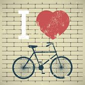 stock photo of bike path  - Illustration bicycle over grunge brick wall - JPG