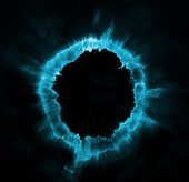 Ring of blue fire on black background