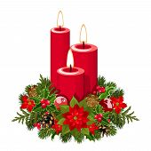 Christmas candles. Vector illustration.