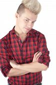 Man with crossed arms in a red shirt