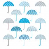 Cute Bue Grey Umbrellas pattern