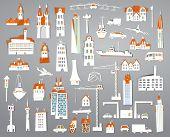 Paper stickers city set