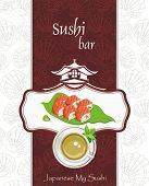 Restaurant menu design. Seafood set of sashimi - traditional Japanese food, vector illustration