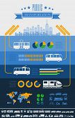 pic of motor-bus  - Flat Transportation Infographic Elements plus Icon Set - JPG