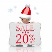 Mini Santa Claus Presents Christmas Sale 20 Percent Off Symbol