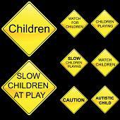 Eight Diamond Shape Yellow Road Signs Set