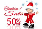 Christmas Discount 50 Percent Off Symbol Presented By Mini Santa Claus