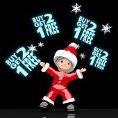 Santa Claus Juggles Glaring Buy Two Get One Free Label