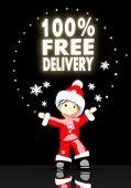 Santa Claus Under A Glaring 100 Percent Free Delivery Symbol