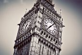 Big Ben, the bell of the clock close up. The famous icon of London, England, the UK. Black and white