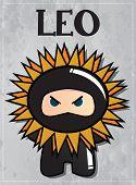 Zodiac sign Leo with cute black ninja character, vector