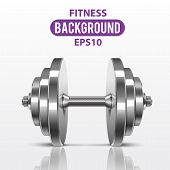 Fitness background with metal realistic dumbbell