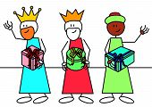 stock photo of epiphany  - Stick figures of the three wise men with some gifts - JPG