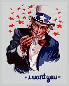 stock photo of uncle  - Cartoon illustration of a smiling Uncle Sam - JPG
