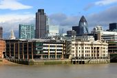 Modern London City Office Skyline By River Thames