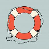 Detailed Outlines, Colored Nautical Life Buoy Isolated On Grey Background. Ship Element. Vector Illu