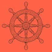 Detailed Brown Outlines Nautical Rudder Isolated On Orange Background. Ship Element. Vector Illustra