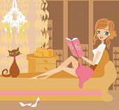 Illustration Of A Girl Reading A Book