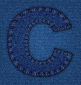 Jeans alphabet letter C